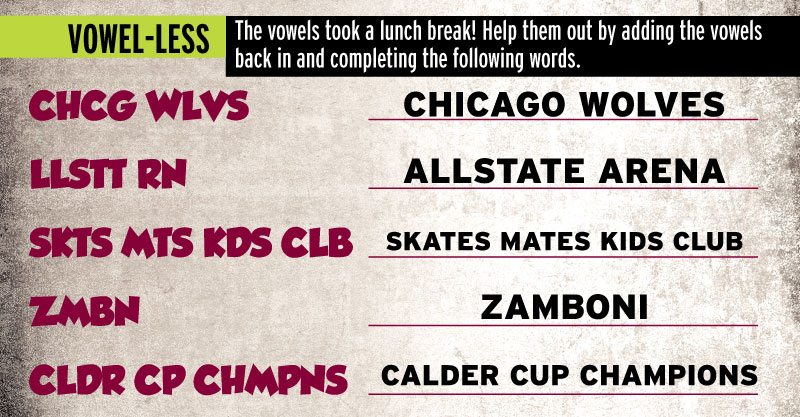 Games Answers October 2015 - Chicago Wolves
