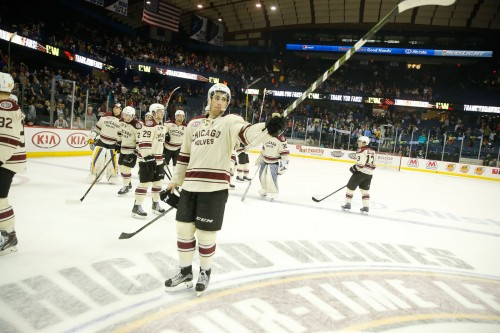 Thank you, Wolves fans. Jordan Schmaltz and his teammates take some time following the 4-2 win to thank the fans for their loyal support all season long. Photo: Ross Dettman/Chicago Wolves