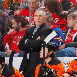 NEWARK, NJ - MARCH 08: Head coach Craig Berube of the Philadelphia Flyers looks on during the game against the New Jersey Devils at the Prudential Center on March 8, 2015 in Newark, New Jersey.  (Photo by Andy Marlin/NHLI via Getty Images)